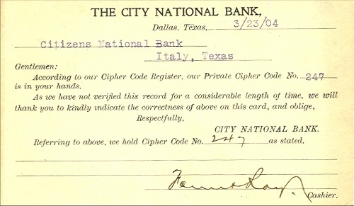 City National Bank - Back Of Card - 1904