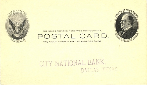 City National Bank - Front Of Card - 1904